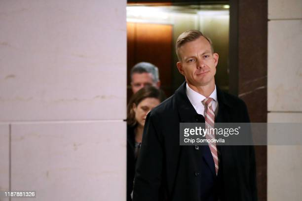 David Holmes aide to top US diplomat in Ukraine William B Taylor Jr arrives to give a deposition to the House Intelligence Committee in the Visitors...