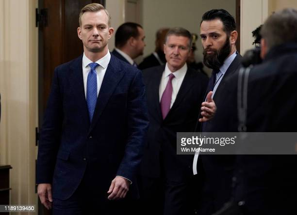David Holmes an official from the American Embassy in Ukraine arrives for testimony before the House Intelligence Committee in the Longworth House...