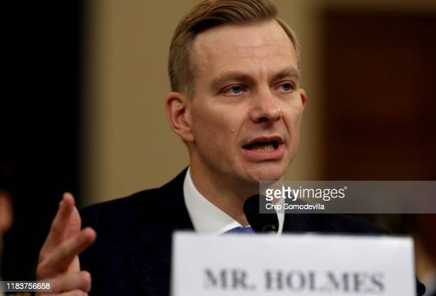 David Holmes an official from the American Embassy in Ukraine testifies before the House Intelligence Committee in the Longworth House Office...