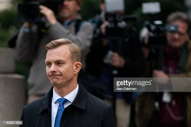 David Holmes an official from the American embassy in Ukraine departs following his testimony before the House Intelligence Committee in the...