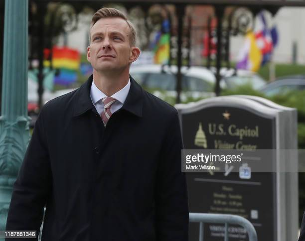 David Holmes counselor for political affairs at the US Embassy in Ukraine walks to a closeddoor deposition at the US Capitol on November 15 2019 in...