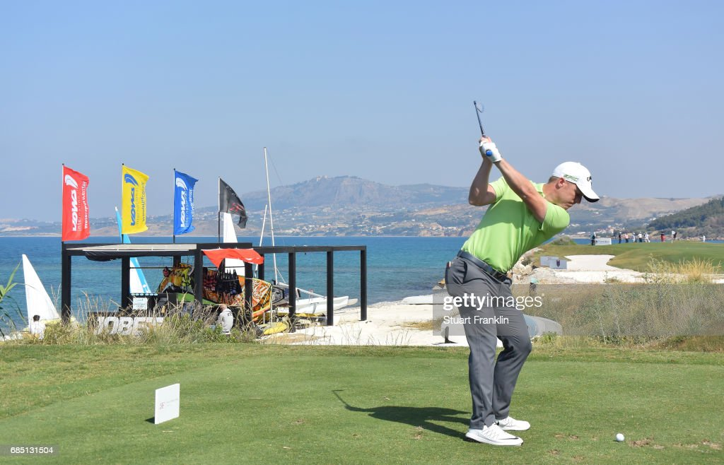 David Horesy of England plays a shot on the 15th hole during the second round of The Rocco Forte Open at The Verdura Golf and Spa Resort on May 19, 2017 in Sciacca, Italy.
