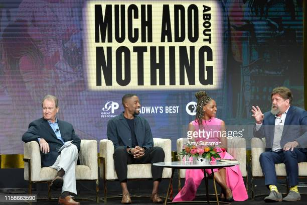 David Horn Grantham Coleman Margaret Odette and Oskar Eustis of Much Ado About Nothing speak during the 2019 Summer TCA press tour at The Beverly...