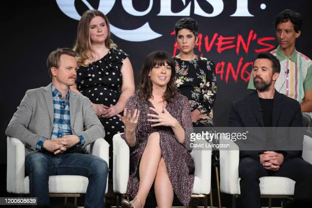 David Hornsby Jessie Ennis Megan Ganz Ashly Burch Rob McElhenney and Danny Pudi of Mythic Quest Raven's Banquet speak on stage during the Apple TV...