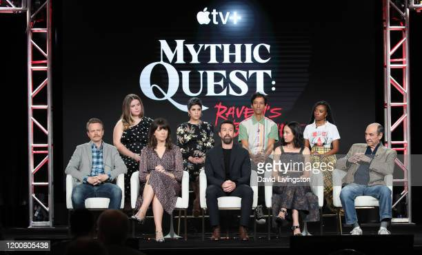 David Hornsby Jessie Ennis Megan Ganz Ashly Burch Rob McElhenney Danny Pudi Charlotte Nicdao Imani Hakim and F Murray Abraham of Mythic Quest Raven's...