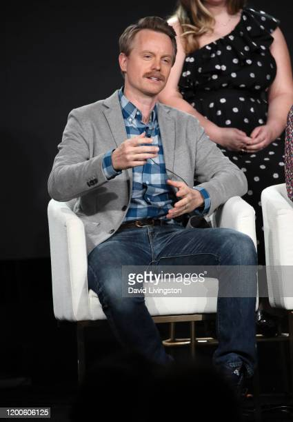David Hornsby of Mythic Quest Raven's Banquet speaks on stage during the Apple TV segment of the 2020 Winter TCA Tour at The Langham Huntington...