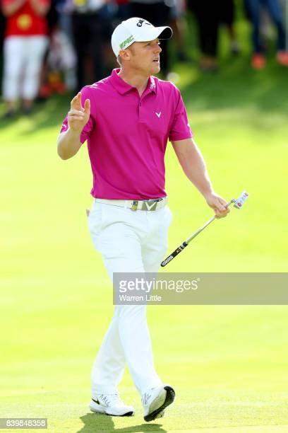David Horsey of England acknowledges the crowd on the 18th green during the final round of Made in Denmark at Himmerland Golf Spa Resort on August 27...