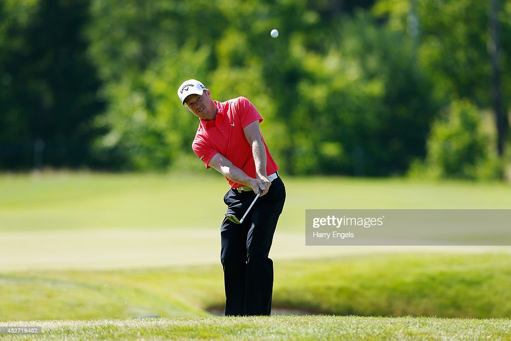 David Horsey of England chips onto the green at the ninth on day three of the M2M Russian Open at Tseleevo Golf & Polo Club on July 26, 2014 in Moscow, Russia.