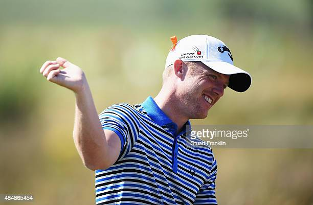 David Horsey of England gestures during the third round of the Made in Denmark at Himmerland Golf Spa Resort on August 22 2015 in Aalborg Denmark