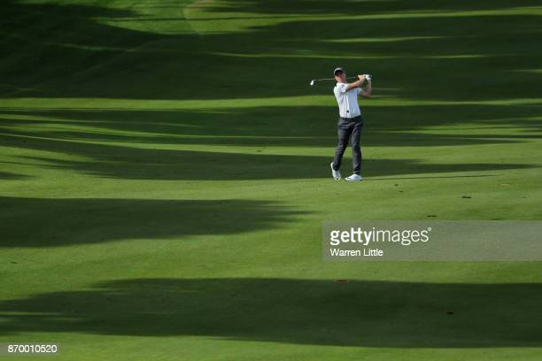 David Horsey of England hits his second shot on the 11th hole during the third round of the Turkish Airlines Open at the Regnum Carya Golf Spa Resort...