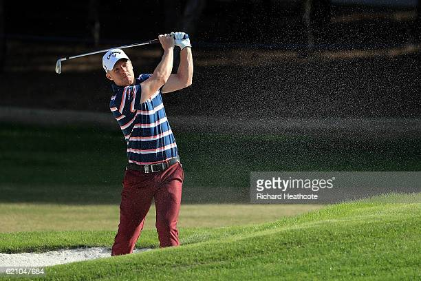 David Horsey of England hits his second shot on the 12th hole during day two of the Turkish Airlines Open at the Regnum Carya Golf Spa Resort on...