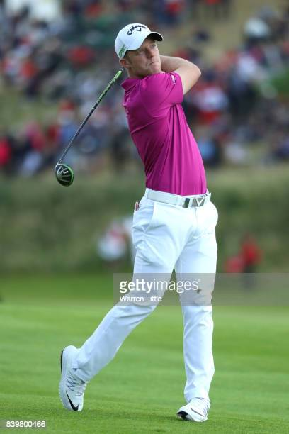 David Horsey of England hits his second shot on the 7th hole during the final round of Made in Denmark at Himmerland Golf Spa Resort on August 27...