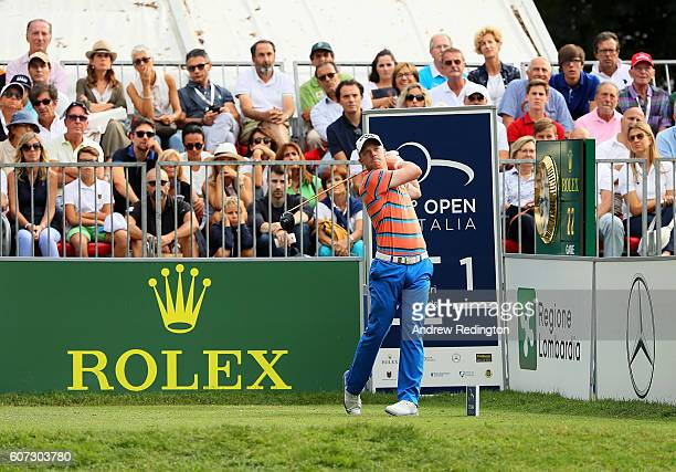 David Horsey of England hits his tee shot on the 1st hole during the third round of the Italian Open at Golf Club Milano Parco Reale di Monza on...