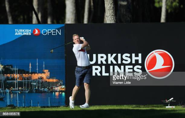 David Horsey of England in action during previews ahead of the Turkish Airlines Open at the Regnum Carya Golf Spa Resort on October 31 2017 in...