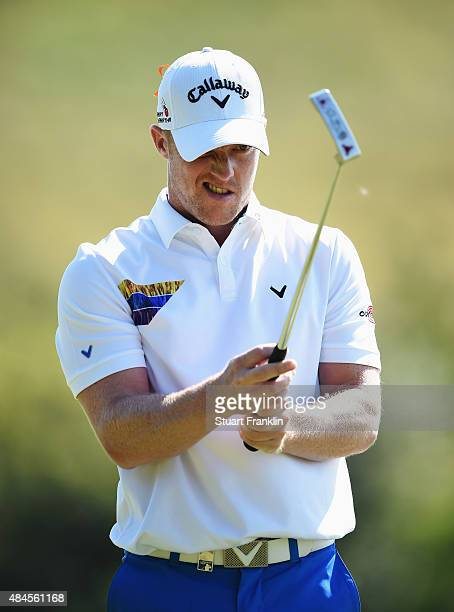 David Horsey of England lines up a putt during the first round of the Made in Denmark at Himmerland Golf Spa Resort on August 20 2015 in Aalborg...