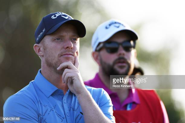 David Horsey of England looks on from the ninth tee during round one of the Abu Dhabi HSBC Golf Championship at Abu Dhabi Golf Club on January 18...