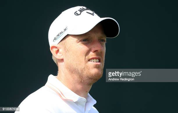 David Horsey of England looks on on the 17th hole during round one of the Omega Dubai Desert Classic at Emirates Golf Club on January 25 2018 in...