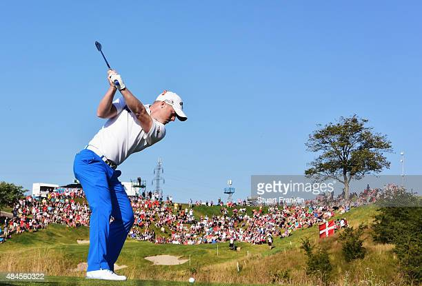 David Horsey of England plays a shot during the first round of the Made in Denmark at Himmerland Golf Spa Resort on August 20 2015 in Aalborg Denmark