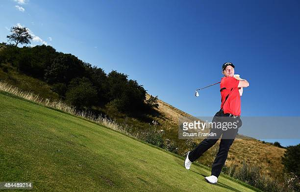 David Horsey of England plays a shot during the Pro Am prior to the start of the Made in Denmark golf at Himmerland Golf Spa Resort on August 19 2015...