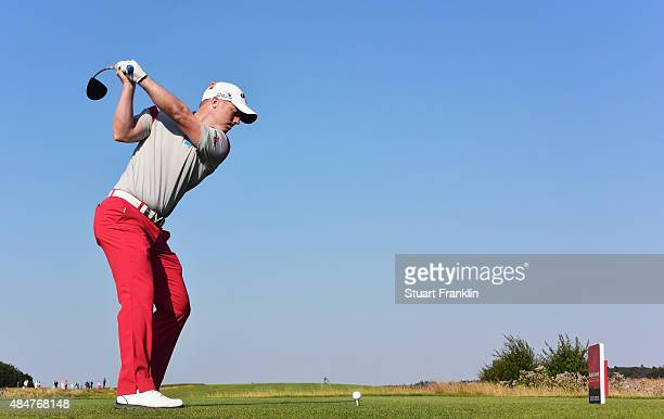 David Horsey of England plays a shot during the second round of the Made in Denmark at Himmerland Golf Spa Resort on August 21 2015 in Aalborg Denmark