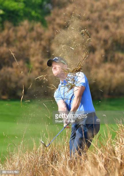 David Horsey of England plays a shot during the second round of the Hero Indian Open at Dlf Golf and Country Club on March 10 2017 in New Delhi India