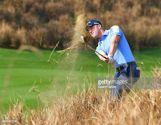 David Horsey of England plays a shot during the second round of the Hero Indian Open at Dlf Golf and Country Club on March 10, 2017 in New Delhi,...