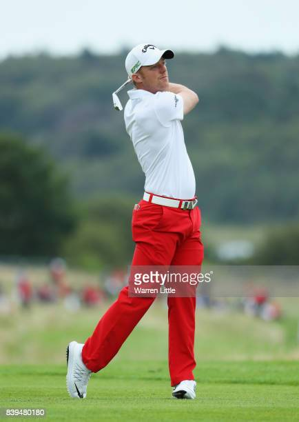 David Horsey of England plays his second shot on the 13th hole during day three of the Made in Denmark at Himmerland Golf Spa Resort on August 26...