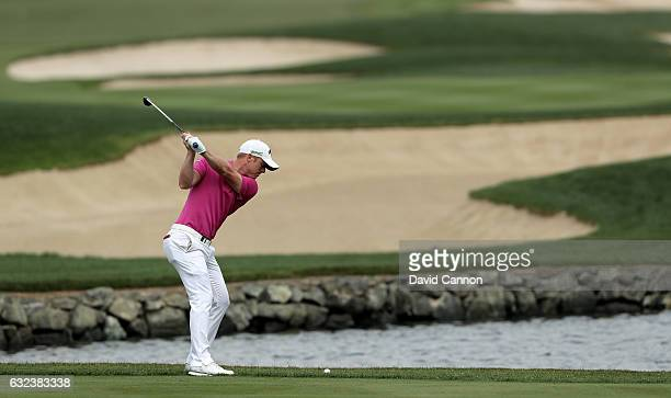 David Horsey of England plays his second shot on the 18th hole during the final round of the 2017 Abu Dhabi HSBC Championship at Abu Dhabi Golf Club...