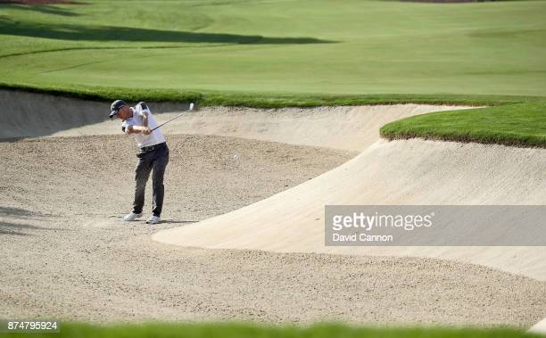 David Horsey of England plays his second shot on the third hole during the first round of the DP World Tour Championship on the Earth Course at...