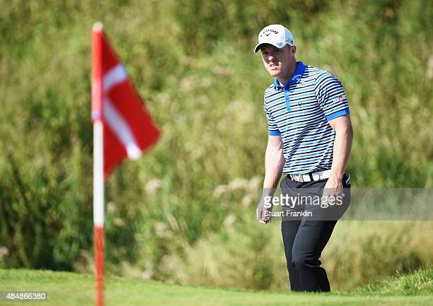 David Horsey of England ponders a shot during the third round of the Made in Denmark at Himmerland Golf Spa Resort on August 22 2015 in Aalborg...
