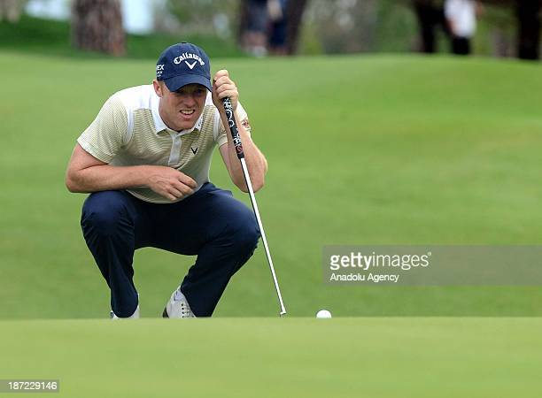 David Horsey of England prepares to make the beginning tee shot of the Turkish Airlines Open Golf Tournament on November 7 2013 in Antalya Turkey...