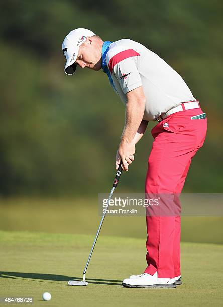 David Horsey of England putts during the second round of the Made in Denmark at Himmerland Golf Spa Resort on August 21 2015 in Aalborg Denmark