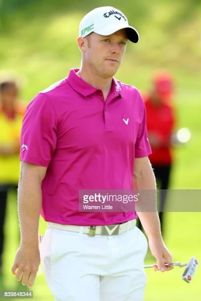 David Horsey of England reacts on the 18th green during the final round of Made in Denmark at Himmerland Golf Spa Resort on August 27 2017 in Aalborg...