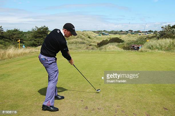 David Horsey of England tees off during the second practice round of the 137th Open Championship on July 15 2008 at Royal Birkdale Golf Club...