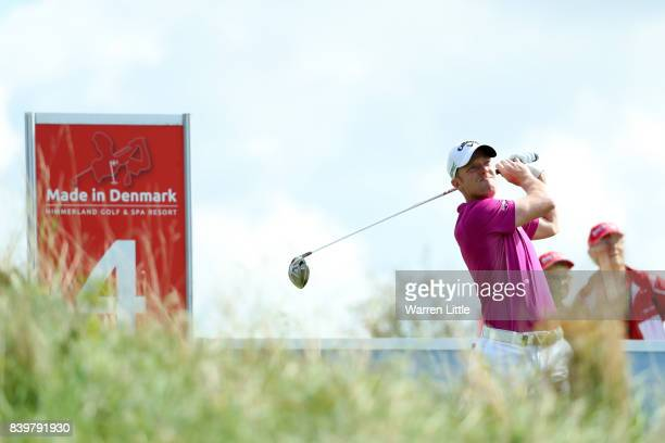 David Horsey of England tees off on the 4th hole during the final round of Made in Denmark at Himmerland Golf Spa Resort on August 27 2017 in Aalborg...