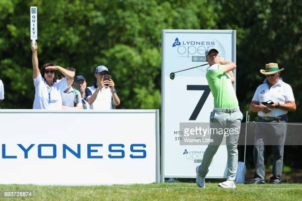David Horsey of England tees off on the 7th hole during day one of the Lyoness Open at Diamond Country Club on June 8 2017 in Atzenbrugg Austria