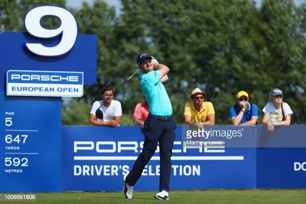 David Horsey of England tees off on the 9th hole during day three of the Porsche European Open at Green Eagle Golf Course on July 28 2018 in Hamburg...