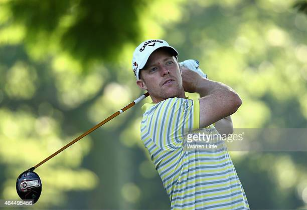 David Horsey of England tees off on the first hole during the first round of the Joburg Open at Royal Johannesburg and Kensington Golf Club on...