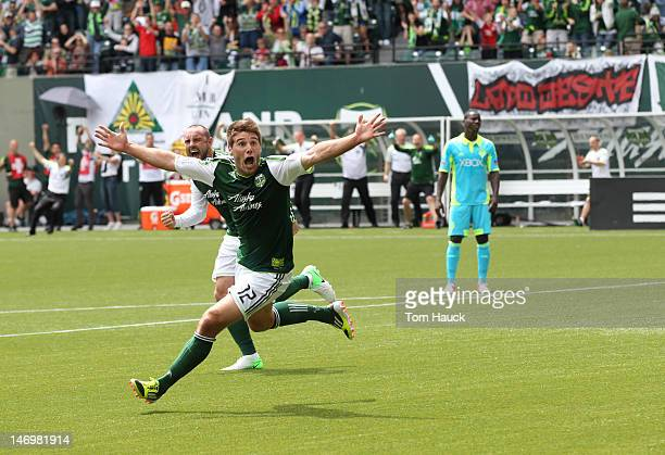 David Horst of the Portland Timbers celebrates his goal in the first half of the Seattle Sounders match on June 24 2012 at JeldWen Field in Portland...