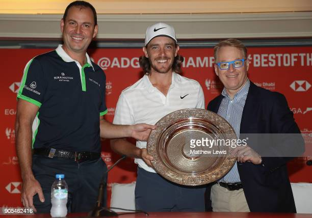 David Howell European Tour Tournament Commitee and Keith Pelley CEO of the PGA European Tour present Tommy Fleetwood of England with the 'Seve...