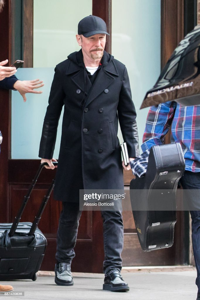 David Howell Evans A.K.A. The Edge is seen leaving his hotel on December 6, 2017 in New York, New York.