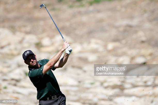 David Howell of England hits his tee shot on the 6th hole during day three of the NH Collection Open held at La Reserva de Sotogrande Club de Golf on...