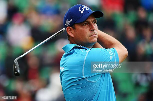 David Howell of England hits his tee shot on the fourth hole during the third round of The 143rd Open Championship at Royal Liverpool on July 19 2014...