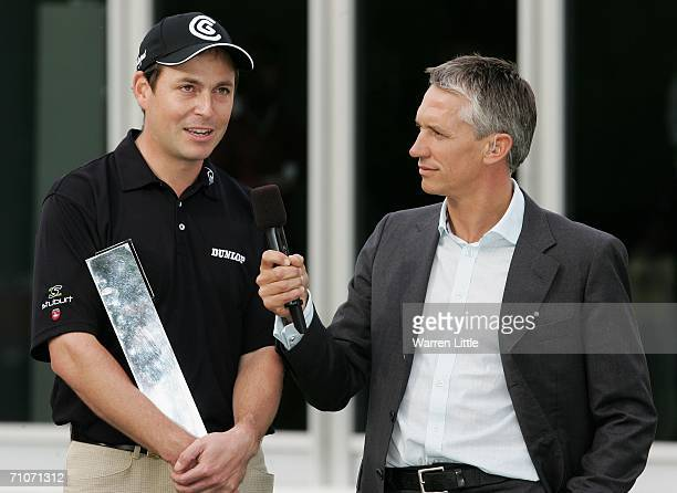 David Howell of England is interviewed by Gary Lineker following victory in the Final Round of the BMW Championship at The Wentworth Club on May 28...