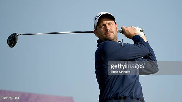 David Howell of England on the 16th tee during the first round of the Commercial Bank Qatar Masters at Doha Golf Club on January 26 2017 in Doha Qatar