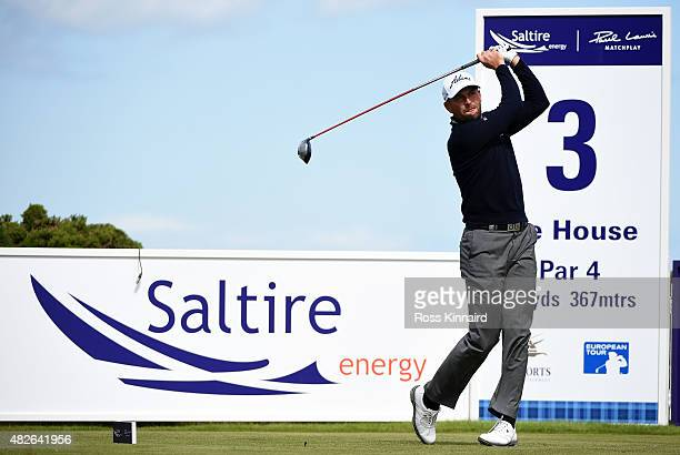 David Howell of England on the 3rd tee during his match against Chris Wood of England the Quater Final of the Saltire Energy Paul Lawrie Matchplay at...