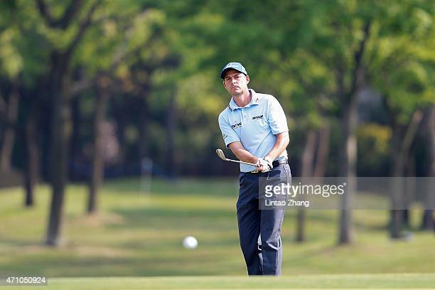 David Howell of England plays a shot during the day three of the Volvo China Open at Tomson Shanghai Pudong Golf Club on April 25 2015 in Shanghai...