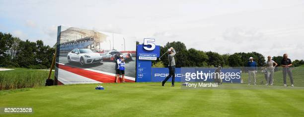 David Howell of England plays his first shot on the 5th tee during the Porsche European Open Pro Am at Green Eagle Golf Course on July 26 2017 in...