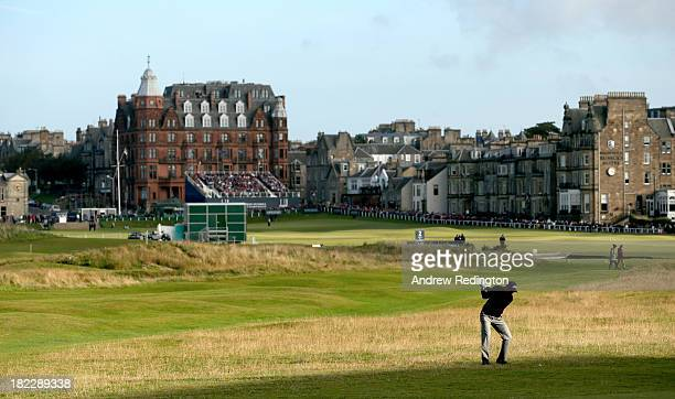 David Howell of England plays his second shot to the 17th hole during the final round of the Alfred Dunhill Links Championship on The Old Course at...