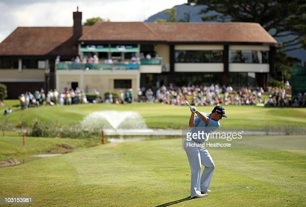 David Howell of England plays into the 18th green during the first round of the 3 Irish Open at Killarney Golf and Fishing Club on July 29 2010 in...